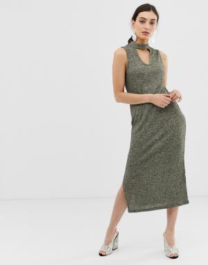Трикотажное платье макси без рукавов -Зеленый Benetton
