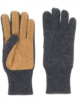 Трикотажные перчатки со вставками Brunello Cucinelli. Цвет: серый