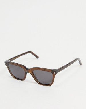 Квадратные солнцезащитные очки унисекс в темно-коричневой оправе Robotnik-Черный цвет Monokel Eyewear