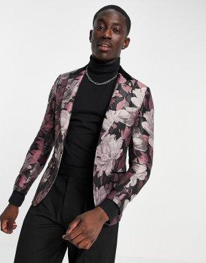 Черно-розовый пиджак с контрастным отворотом и жаккардовым цветочным принтом -Розовый цвет Twisted Tailor