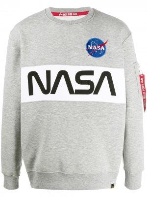 Толстовка NASA с принтом Alpha Industries. Цвет: серый