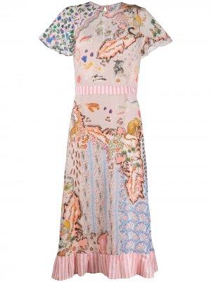 Платье миди с контрастным принтом Liberty London. Цвет: розовый