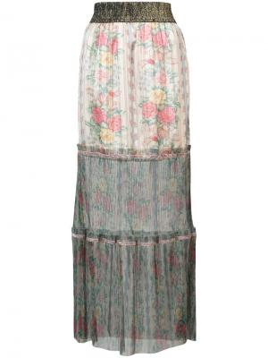 Юбка макси из тюля с цветочным принтом Anna Sui. Цвет: бежевый