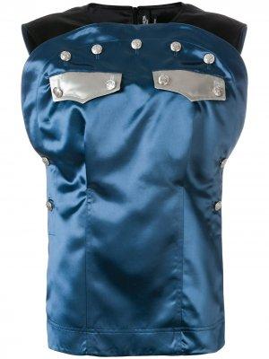 Топ с контрастной вставкой и декором из пуговиц Calvin Klein 205W39nyc. Цвет: синий