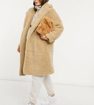 Светло-бежевое плюшевое удлиненное пальто -Белый New Look Maternity