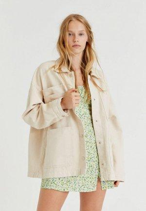 Куртка джинсовая Pull&Bear. Цвет: бежевый