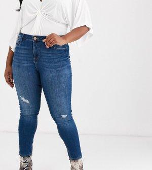 Темно-синие джинсы скинни с рваной отделкой -Синий River Island Plus