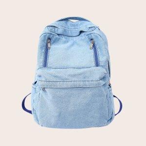 Джинсовый рюкзак большой емкости SHEIN. Цвет: синий