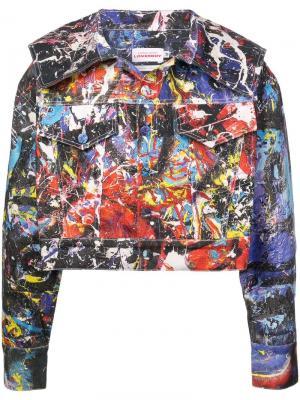Джинсовая куртка с принтом краски Charles Jeffrey Loverboy. Цвет: разноцветный
