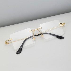 Мужские квадратные очки без оправы SHEIN. Цвет: прозрачный