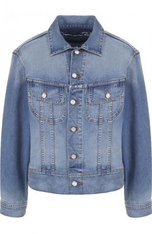 Джинсовая куртка с потертостями и декорированной спинкой Oscar de la Renta. Цвет: синий
