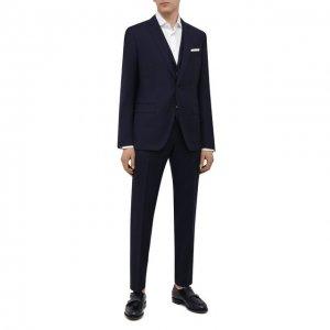 Шерстяной костюм-тройка BOSS. Цвет: синий