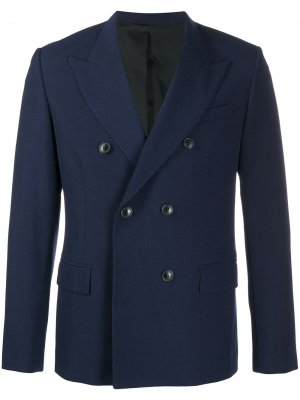 Двубортный пиджак строгого кроя AMI Paris. Цвет: синий