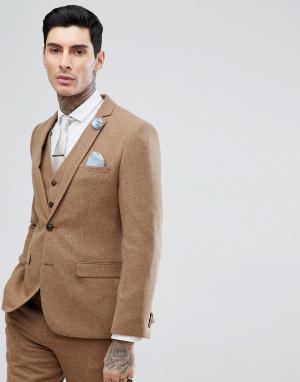 Светло-коричневый узкий пиджак в крапинку Harry Brown