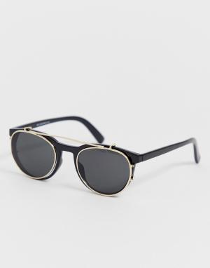 Черные солнцезащитные очки со съемными линзами -Синий New Look