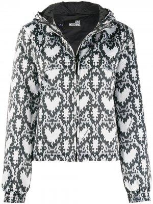 Куртка-бомбер со змеиным принтом Love Moschino. Цвет: черный