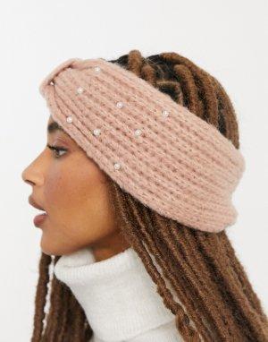 Бежевая вязаная повязка на голову с отделкой в виде жемчужин -Розовый Pieces