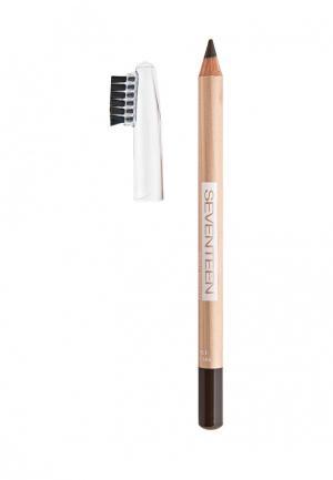 Карандаш для бровей Seventeen с щеточкой т.06  LONGSTAY EYE BROW SHAPERкоричневый. Цвет: коричневый