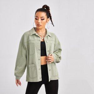 Джинсовая куртка на пуговицах с карманом SHEIN. Цвет: мятно-зеленый
