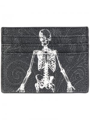 Визитница с принтом скелета Etro. Цвет: чёрный