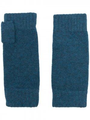 Кашемировые перчатки-митенки N.Peal. Цвет: синий