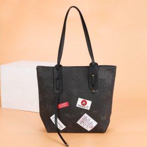 Джинсовая сумка-тоут большой емкости SHEIN. Цвет: чёрный