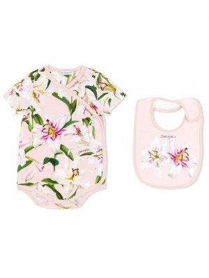 Комплект из боди и нагрудника с принтом Dolce & Gabbana Kids. Цвет: розовый