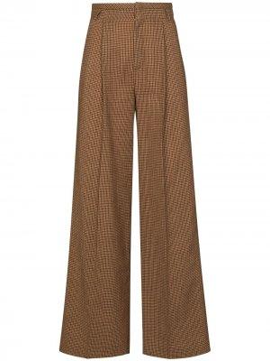 Расклешенные брюки в ломаную клетку Chloé. Цвет: коричневый