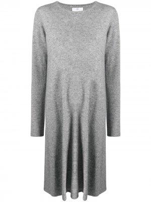 Расклешенное платье с длинными рукавами Allude. Цвет: серый