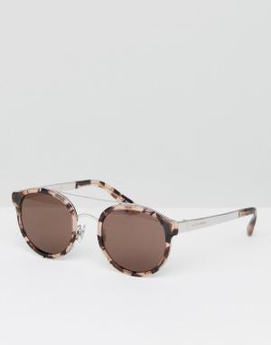 Солнцезащитные очки в круглой черепаховой оправе Dolce & Gabbana. Цвет: коричневый