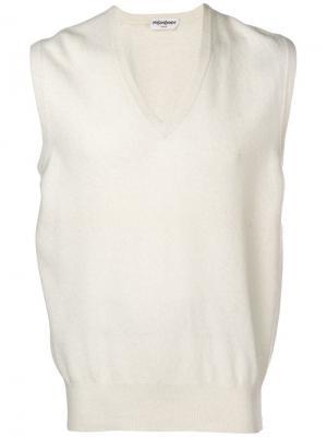 Жилетка без рукавов и застежек с V-образным вырезом Yves Saint Laurent Vintage. Цвет: белый