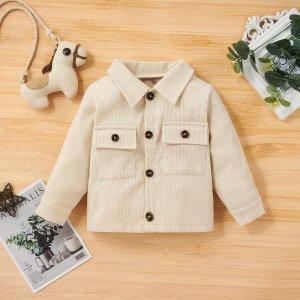 Детский Пальто вельветовый с карманом однобортный SHEIN. Цвет: aбрикосовый