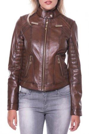 Кожаная куртка GIORGIO DI MARE. Цвет: коричневый