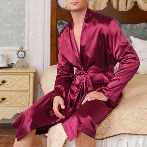 1шт мужской халат с поясом SHEIN. Цвет: бургундия