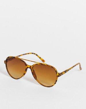 Коричневые солнцезащитные очки-авиаторы в стиле унисекс -Коричневый цвет AJ Morgan