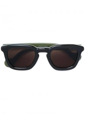 Солнцезащитные очки в квадратной оправе Moncler Eyewear. Цвет: зелёный