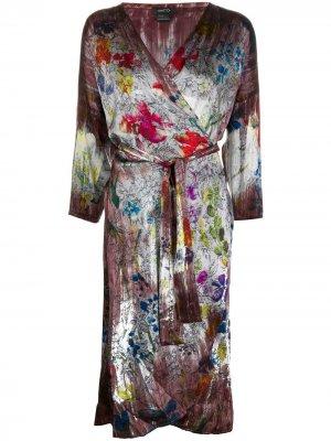 Платье с запахом и цветочным принтом Avant Toi. Цвет: красный