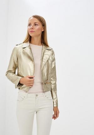 Куртка кожаная B.Style BS002EWARTB9. Цвет: золотой