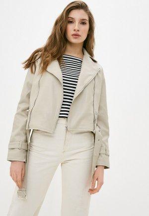 Куртка кожаная Fadas. Цвет: бежевый
