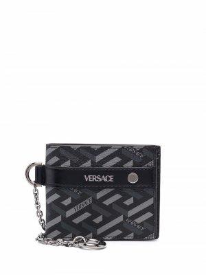 Картхолдер с узором La Greca Versace. Цвет: черный