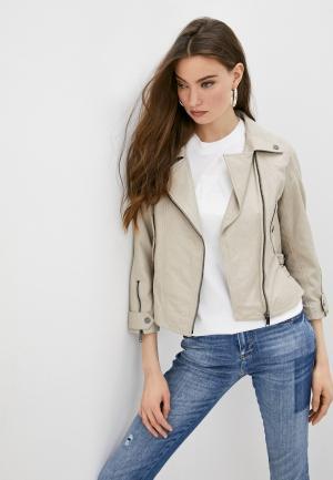 Куртка кожаная Max&Co FINE. Цвет: бежевый