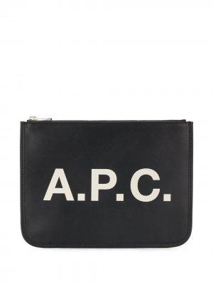 Клатч на молнии с логотипом A.P.C.. Цвет: черный