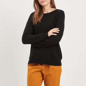 Пуловер с круглым вырезом спереди и V-образным сзади VILA. Цвет: розовый,черный