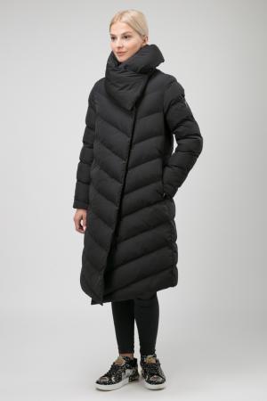 Длинное женское пальто А-силуэта с большим воротником ODRI Mio. Цвет: черный