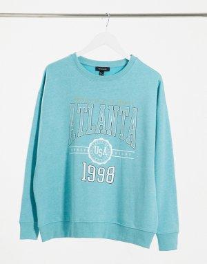 Ярко-голубое свитшот в стиле oversized с принтом Atlanta -Зеленый New Look