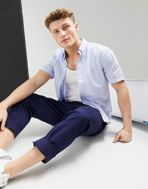 Светло-голубая рубашка классического кроя на пуговицах из легкой ткани в белую полоску с короткими рукавами и логотипом -Голубой Polo Ralph Lauren