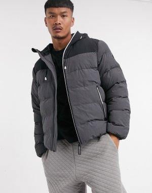 Серо-черная дутая куртка в стиле колор блок Armani -Черный EA7