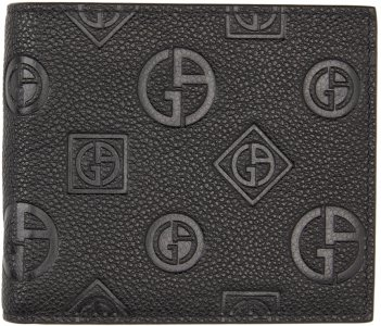 Black Leather Embossed Logo Bifold Wallet Giorgio Armani. Цвет: 80001 black