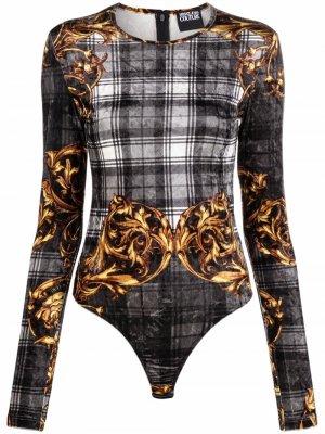 Клетчатое боди с длинными рукавами и принтом Baroque Versace Jeans Couture. Цвет: черный