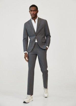 Костюмные брюки slim fit из шерсти - Travel Mango. Цвет: серый